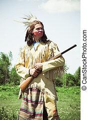 dress., reconstrucción, norteamericano, norte, indio, lleno