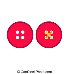 Dress red button clothing symbol fabric pictogram vector icon set. Craft accessory sewing tailor