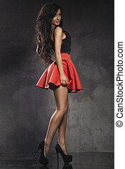 dress., riccio, moda, giovane, lungo, elegante, donna, brunetta, sensuale, hair., proposta, rosso