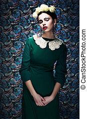 dress., romantico, vendemmia, giovane, pin-up, donna, verde, disegnato