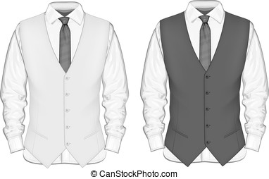 Dress shirt with waistcoat.
