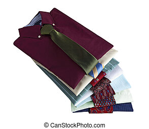 Dress shirts - Pile of dress shirts with ties isolated on...