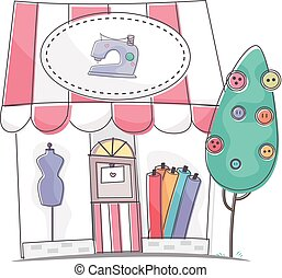 Illustration Featuring the Storefront of a Dress Shop