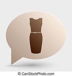 Dress sign illustration. Brown gradient icon on bubble with shadow.
