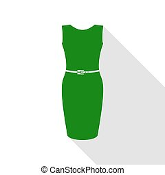 Dress sign illustration. Green icon with flat style shadow path.