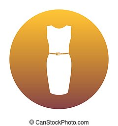Dress sign illustration. White icon in circle with golden gradie