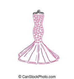 dress sketch, vector illustration