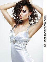 dress., sofisticado, noite, mulher, luxo, seda, partido., ...