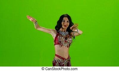 dress., tanzen, tanz, screen., bewegung, langsam, grün, bauch, rotes