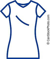 Dress tunic,long skirt line icon concept. Dress tunic,long skirt flat  vector symbol, sign, outline illustration.