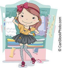 Dress Up Closet - Illustration of a Girl Trying Out...