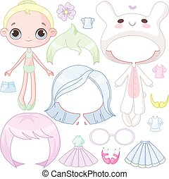 Dress up doll - Illustration of paper doll with different...