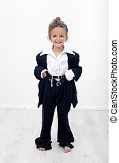 Dress up like my mother - happy little girl playing with...