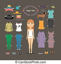 Dress up paper doll with big head. Pants and dresses, shoes...
