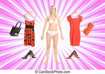 Dress up the girl item set over abstract pink background