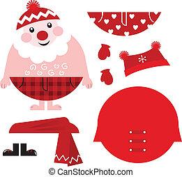 Dress up your Santa! Christmas retro icons & design elements...