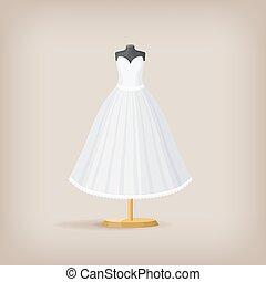 dress., vector, illustratie, trouwfeest