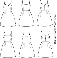 Dress - Vector illustration of women's summer romantic...