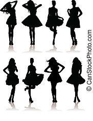 dress., verschieden, modell, abbildung, satz, mädels, vektor, dame, schöne