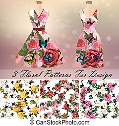 Dress with an trendy rose and butterflies design