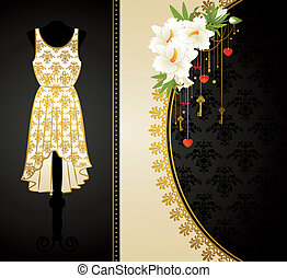 dress with flowers and ornaments.