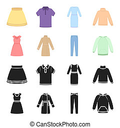 Dress with short sleeves, trousers, coats, raglan. Clothing set collection icons in black, cartoon style bitmap symbol stock illustration .