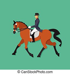 Vector illustration concept of Equestrian sport, horse and horsewoman performing dressage