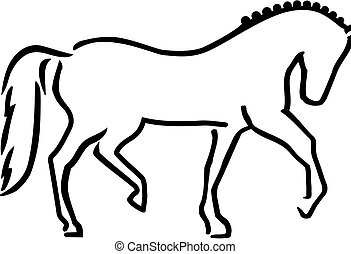 Dressage horse sketch style