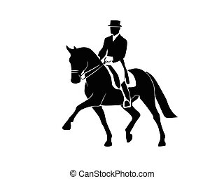 Silhouette of a dressage horse and rider on a white background
