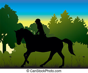 dressage on the morning - silhouette of horse and rider...