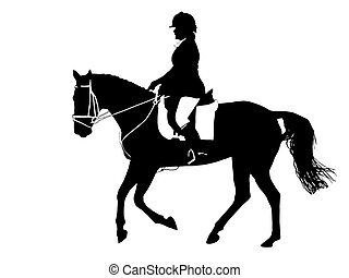 Dressage Silhouette - A Black & White silhouette of a...