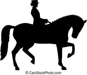 dressage, silueta, jinete, caballo