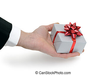 gift box - dressed man who offers a gift box
