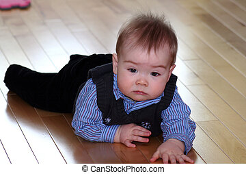 Dressed Up Baby - a baby boy dressed in a shirt and vest for...