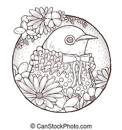 cute bird coloring page - dressed up cute bird coloring page...