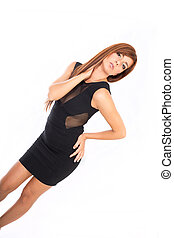 Dressed up - A young adult woman ready to go out in a black...