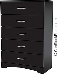 Dresser black - Dresser with five drawers for office and...