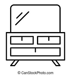 Dresser thin line icon. Table with mirror vector illustration isolated on white. Furniture outline style design, designed for web and app. Eps 10.