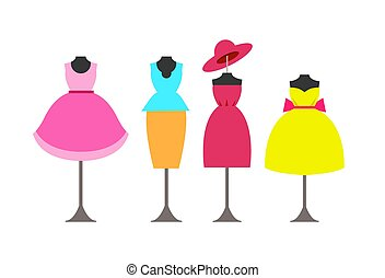 Dresses Collection Poster Vector Illustration