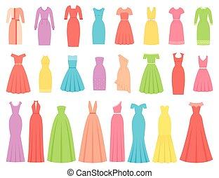 Dresses for women. Vector illustration. Female textile, flat design.