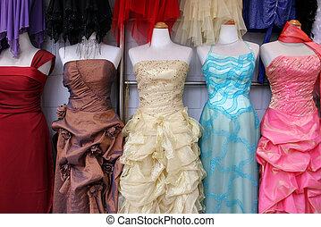 Glamorous dresses on display