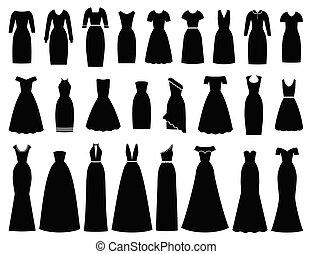 Dresses icon for women. Vector illustration. Female textile, flat design.