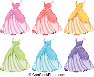 Dresses - Illustration of dresses in different colors