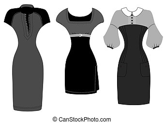Dresses isolated on white for design