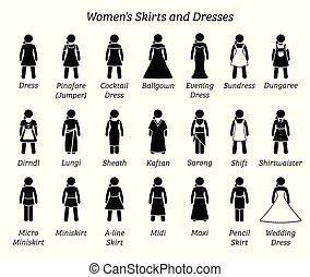dresses., poły, kobiety