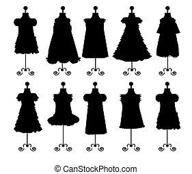 dresses. silhouettes. set. vector