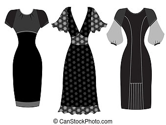 Dresses. Vector woman clothes isolated on white