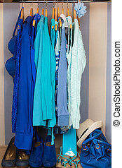 Dressing closet with blue clothes
