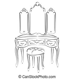 Dressing console. - Sketched retro dressing console, pier-...