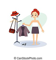 Dressing Down. Daily Routine Activities of Women. Vector...